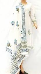 Hand Block Printed Cotton Malmal Dupatta