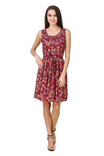 68df3a6402 Cotton Sleevless Printed Red Designer One Piece Western Dress
