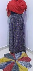 M.S Designer Printed Rayon Skirt A Line with Border