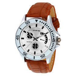 Golden Bell Branded Silver Dial Analog Wrist Watch for Men, GB-381