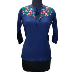 3/4th Sleeve Ladies Rayon Embroidered Top, Size: XL