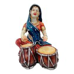 Women Playing Dholak Statue/ Showpiece Decorative Gift Item