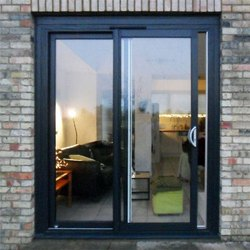 Parul Enterprises Black Aluminum Sliding Door, Exterior