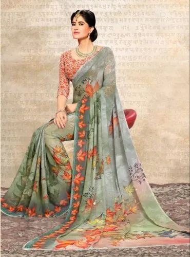 2d10c9de36 Multicolor Ladies Georgette Printed Casual Wear Saree, Rs 849 /piece ...