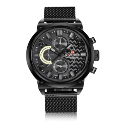 Naviforce Black Chain Steel Watch Watch, Day & Date Display 9068S /Available in 5 colors.