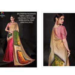 Rachna Linen Silk Digital Printed Portrait Again Catalog Saree For Women 5