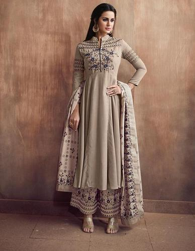c3aaa79d81e7 Umbrella Cut Palazzo Suit - Floral Embroidery - Ready To Wear Indian Designer  Dress