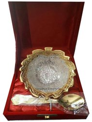 Gold Silver Plated Leaf Shaped Bowl For Return Gifts With Red Velvet Box