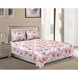 Bombay Dyeing Floral Fiesta 144 TC Cotton Double Bedsheet with 2 Pillow Covers - Orange