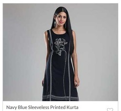 Navy Blue Sleeveless Printed Kurta
