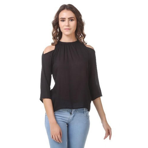 5b9fe267e05 Plain Black Cold Shoulder Tops