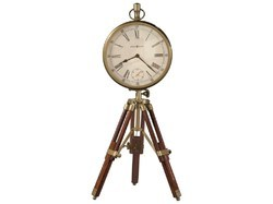 Wooden Tripod Stand Compass Design Table Clock