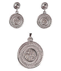 Silver Plated Diamond Studded Pendant And Drop Earrings