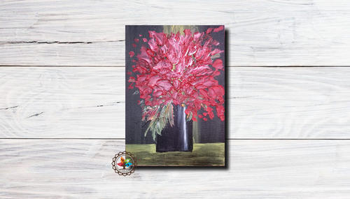 Textured Flower Painting On Canvas With Acrylic Color