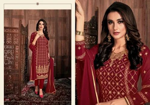Monumental Georgette Embroidered Party Wear Salwar Kameez