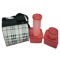 Plastic Red Lunch Box With 4 Containers, Shape: Circular
