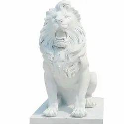 White Sandstone Lion Sculpture, For Interior & Exterior Decor, Size/Dimension: 48x42x18 Inch (lxwxh)