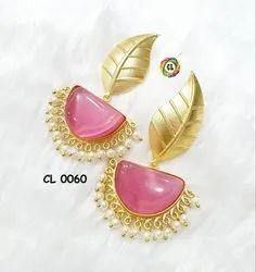 Cl Code Bollywood Designer Matt Finish Brass Monalisa Stone Fancy Earrings Manufacturer Direct