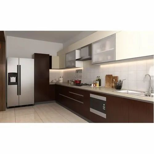 Wooden Straight Residential Modular Kitchen, Kitchen Cabinets