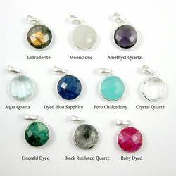 Sterling Silver Round Bezel Set Gemstone Pendant