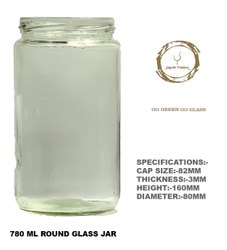 780 Ml Round Glass Jars