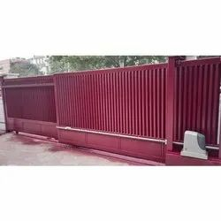Maroon Mild Steel Automatic Telescopic Gate, For Commercial