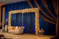 blue flower decoration wedding, india
