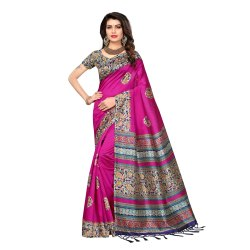 Pink Colored Poly Silk Printed Casual Wear Saree