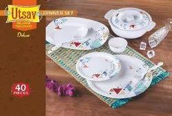 Utsav White Round Dinner Set, For Home, 40pc