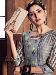 Knee Long 3/4th Sleeve Woman Fancy Designer Kurti