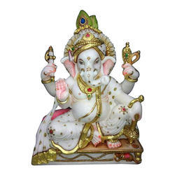 White And Golden Marble Ganpati Statue