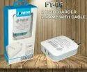 White Usb Charger Fintek 2.5 A Charger, Model Number: Ft-05