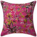 Kantha Embroidered Cotton Bird Print Boho Cushion Cover