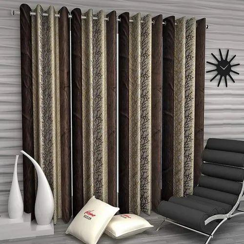 Eyelet Brown Printed Blackout Window, Black And Brown Curtains