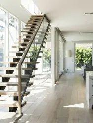 Black Mild Steel Wooden Staircase