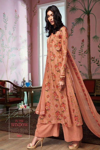 0074240a08 Peach Designer Flower Printed Dress Material, Rs 1691 /piece | ID ...