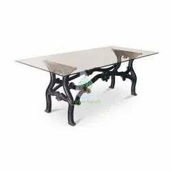 Shriman Exports Industrial Vintage Cast Iron Dining Table with Glass Top