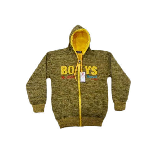 Olive Green Foma Kids Woolen Hoodies