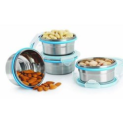 Silver Stainless Steel Airtight Container, For Home, Round