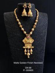 Peacock Pendant Matte Gold Necklace GN 68