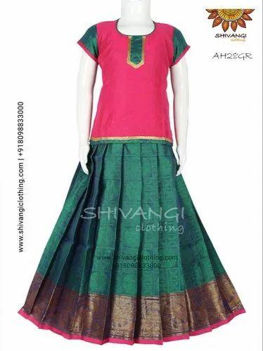 f48b1e0ebb Green Chanderi Silk Pattu Pavadai, Rs 1895 /piece, Shivangi Clothing ...