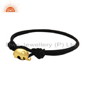 Black Cord Macrame Gold Plated Silver Elephant Design Bracelets
