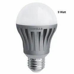 Aluminum Cool daylight 9Watt Havells LED Bulb, Base Type: B22