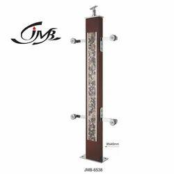 Designer Wooden Glass Pillar
