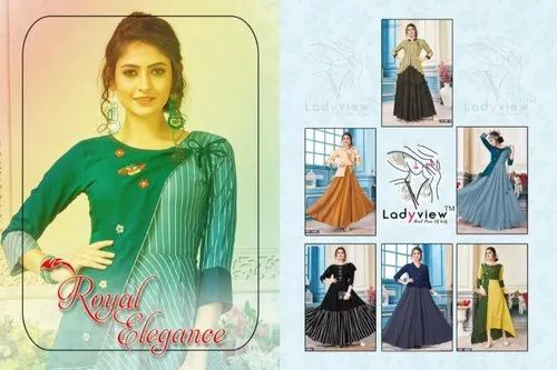 393ee9157e Multicolor Party Wear Latest Heavy Rayon Long Gown Style Kurtis, Size: M