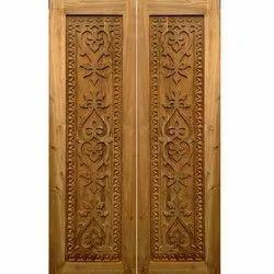 Carved Teak Wood Double Door, For Home