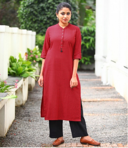 Red Handloom With Black Chequered Long Cotton Kurta