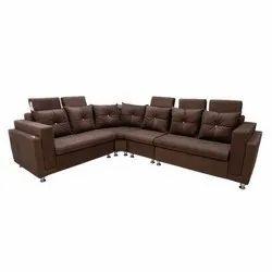 Wooden 7 L Shape Leather Corner Sofa Set, For Home, Living Room