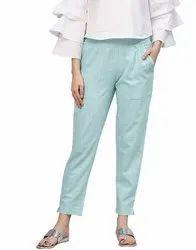 Multicolor Casual Wear Cotton Slub Pant, Size: Free Size