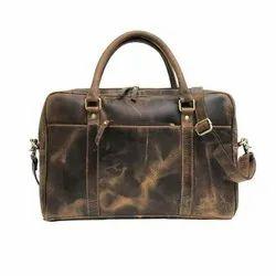 Genuine Buffalo Leather Laptop Portfolio Cross Body Unisex Office Bag For Mens and Womens